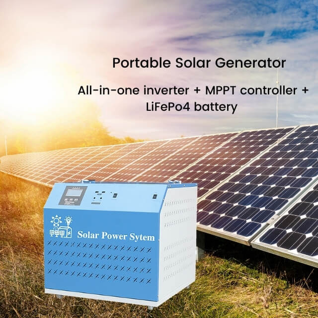Portable solar generator 2000W with LiFePo4 battery at 220V 110V output