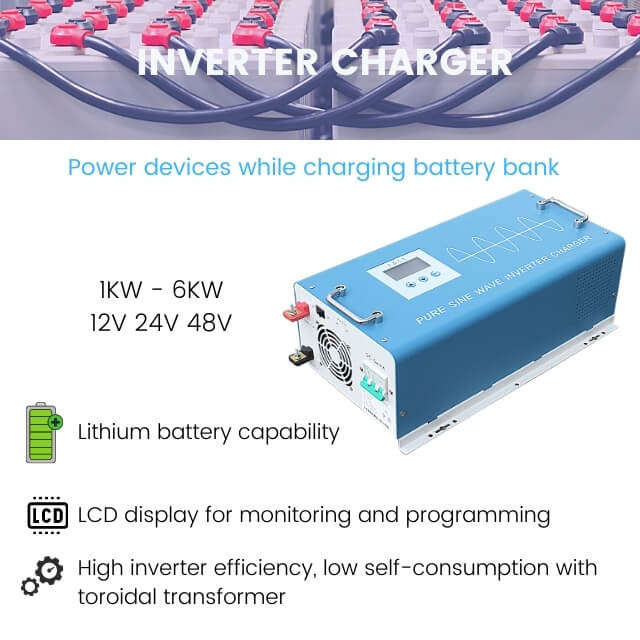 2000W pure sine wave inverter charger 12V/24V/48VDC