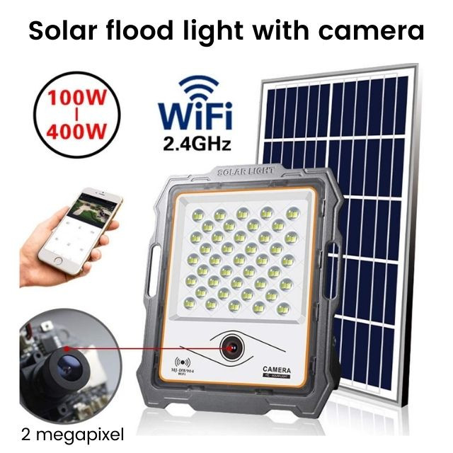 200W solar powered flood light camera CCTV with security and lighting function all-in-one
